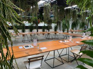 Vergaderen in het groen ruimte 1,5 meter opstelling met social distancing